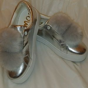 Sam Edelman silver leather Pom sneakers
